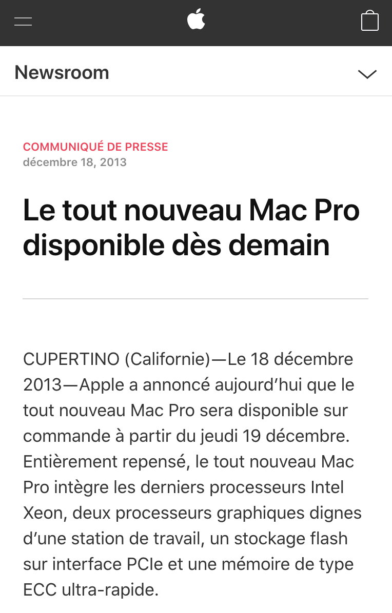 Mac Pro 2013 press release french