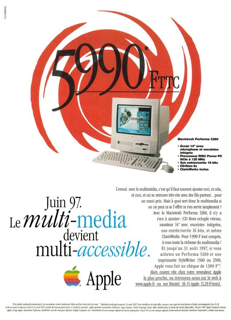 Publicité Apple 1997 : le multi-média multi-accessible Performa 5260