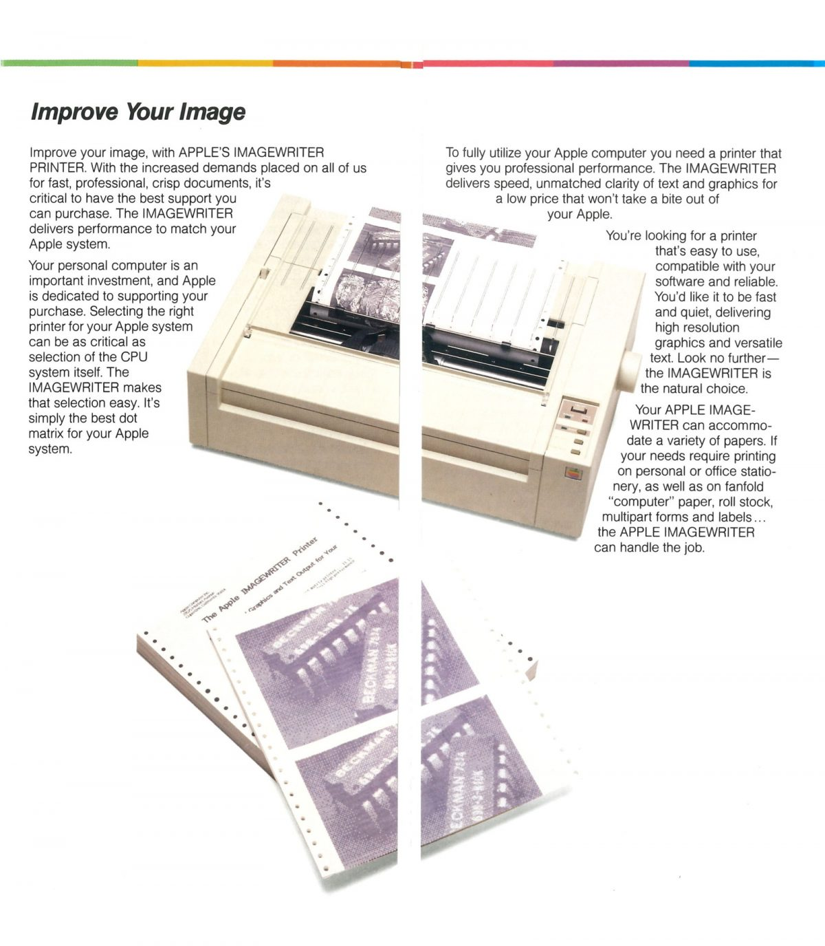 Brochure pour l'imprimante ImageWriter d'Apple