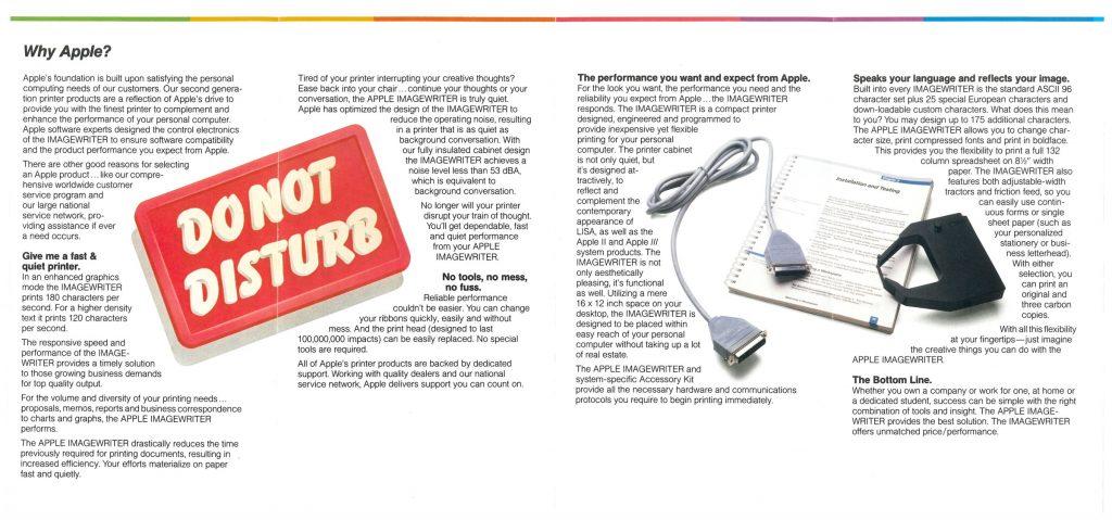 Brochure pour l'imprimante ImageWriter d'Apple