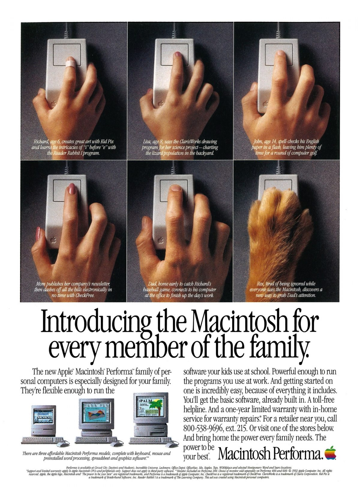 Apple 1992 Ad : Introducing the Macintosh for every member of the family (Performa)