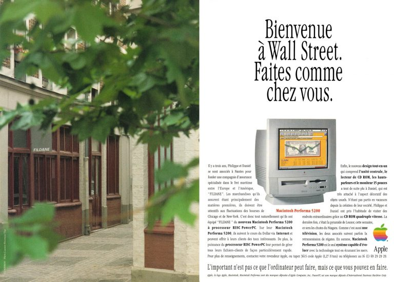 Publicité Apple Performa 5200 : Bienvenue à Wall Street, faites comme chez vous