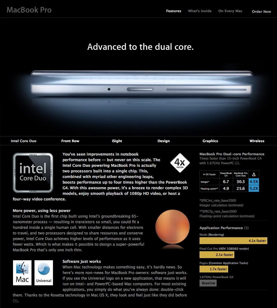 2006 Apple MacBook Pro website