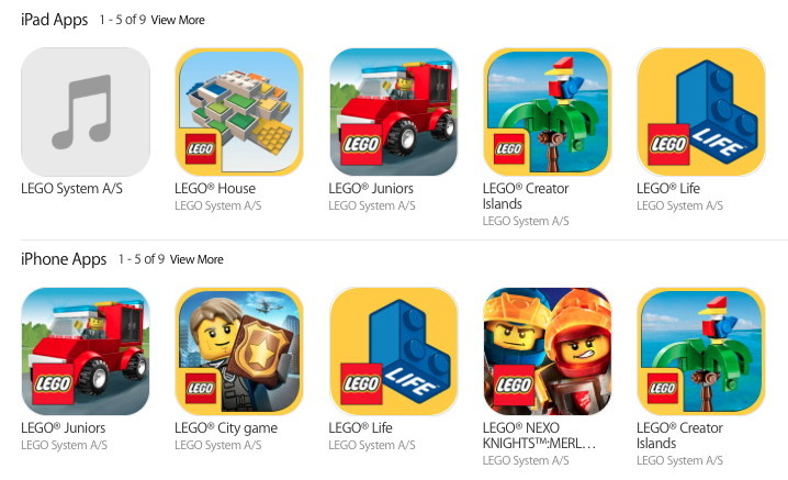 Lego iOS apps