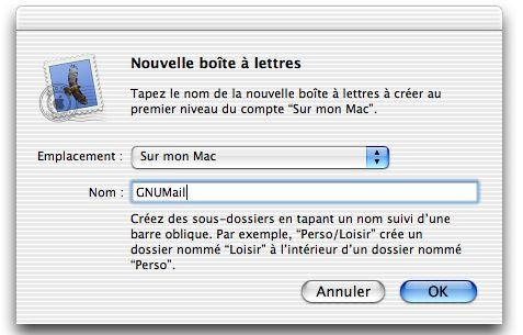 Créer une boîte aux lettres dans Mail d'Apple