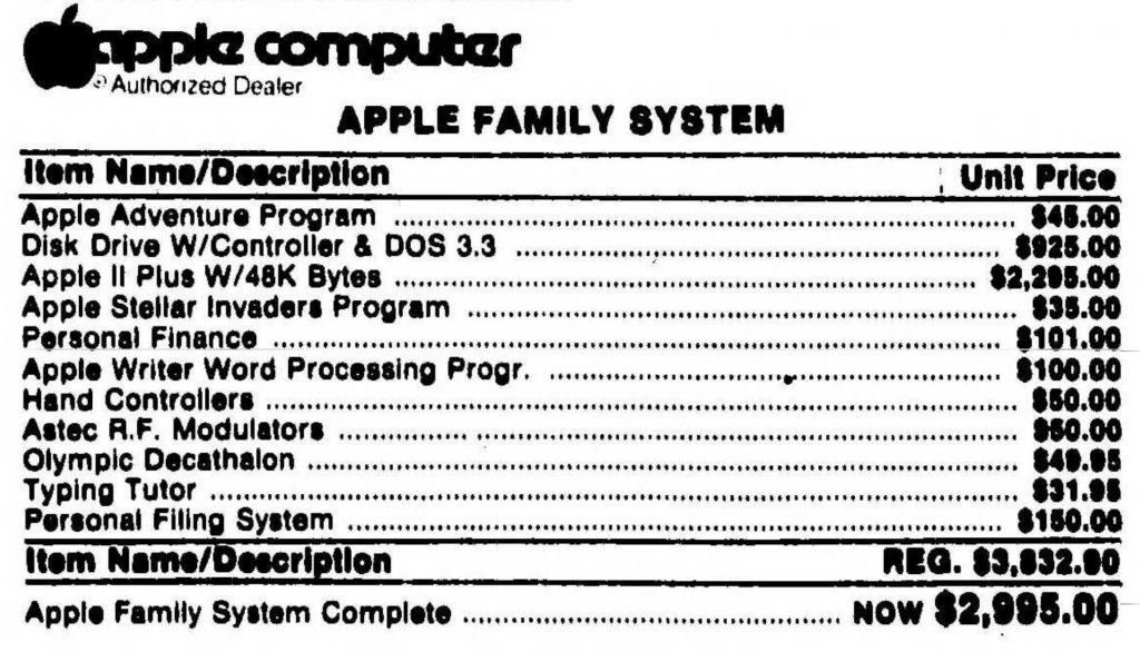 Apple Family System 1982 prices