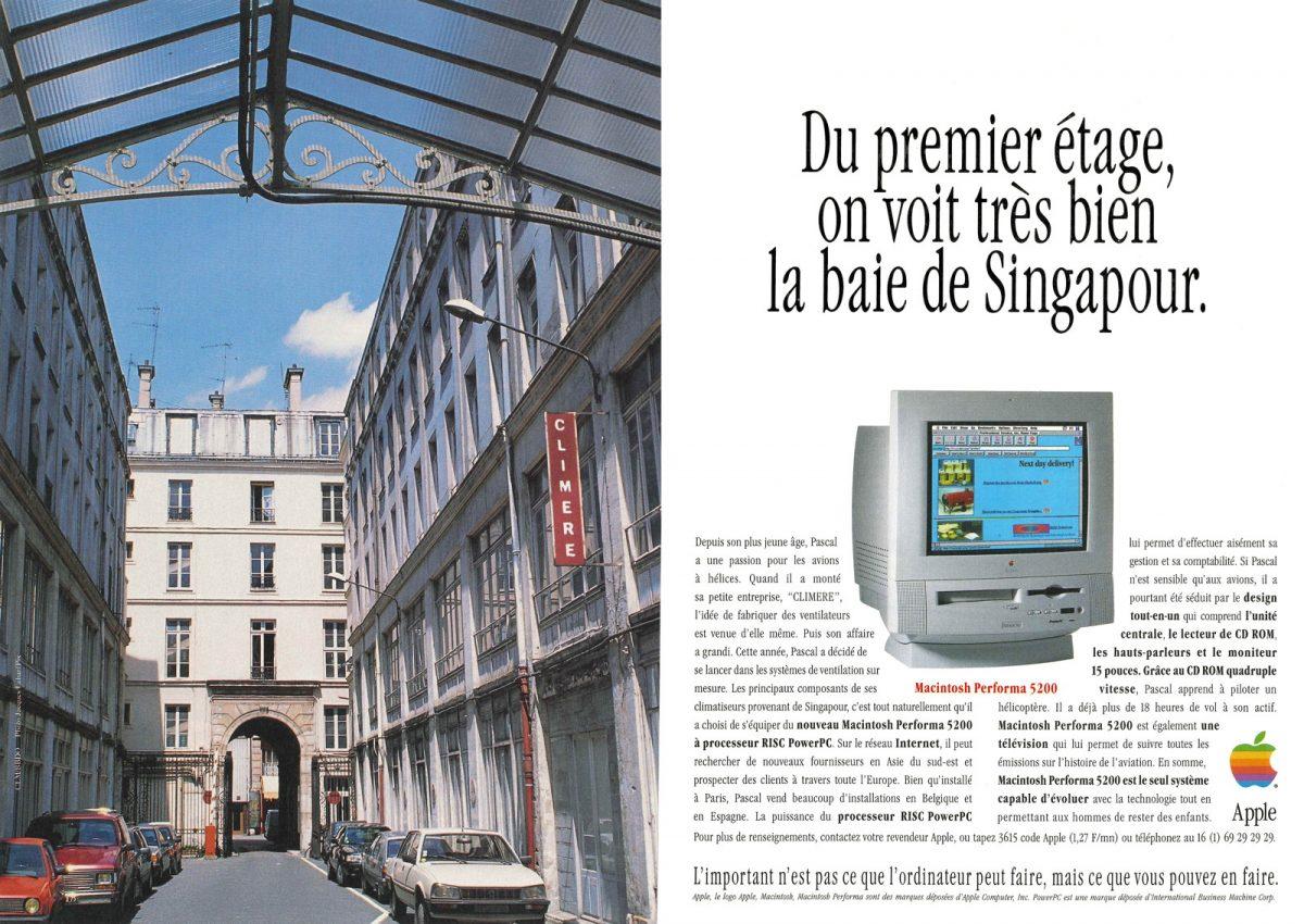 Publicité Apple Performa 5200: du premier étage, on voit très bien la baie de Singapour
