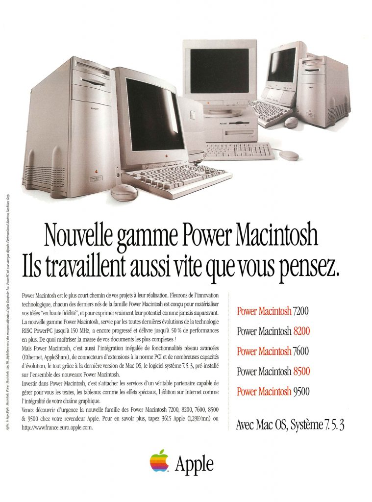 Publicité Apple Power Macintosh Gamme 1996