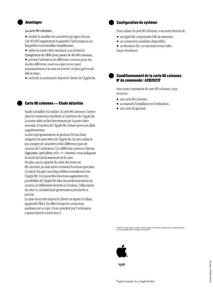Carte 80 colonnes Apple IIe