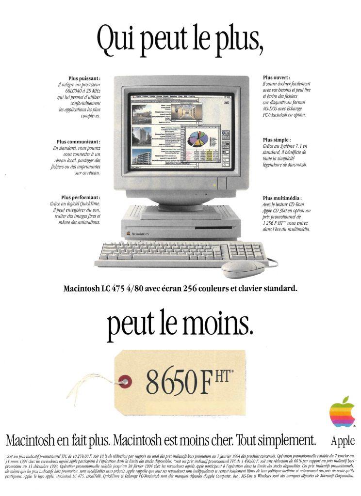 Publicité LC 475 petit prix