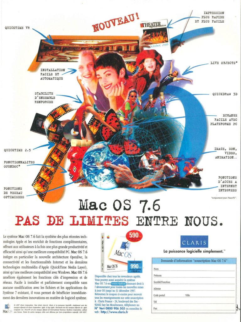 Mac OS 7.6 publicité France par Claris et Apple