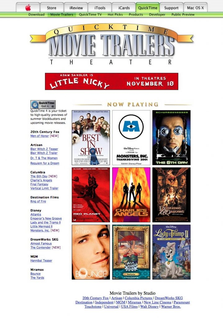 QuickTime Movie Trailers 2000