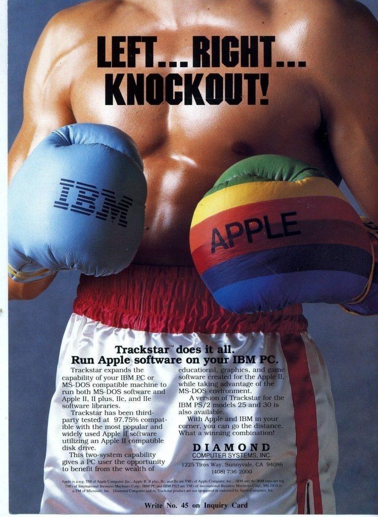 Trackstar compatible Apple II pour IBM PC publicité