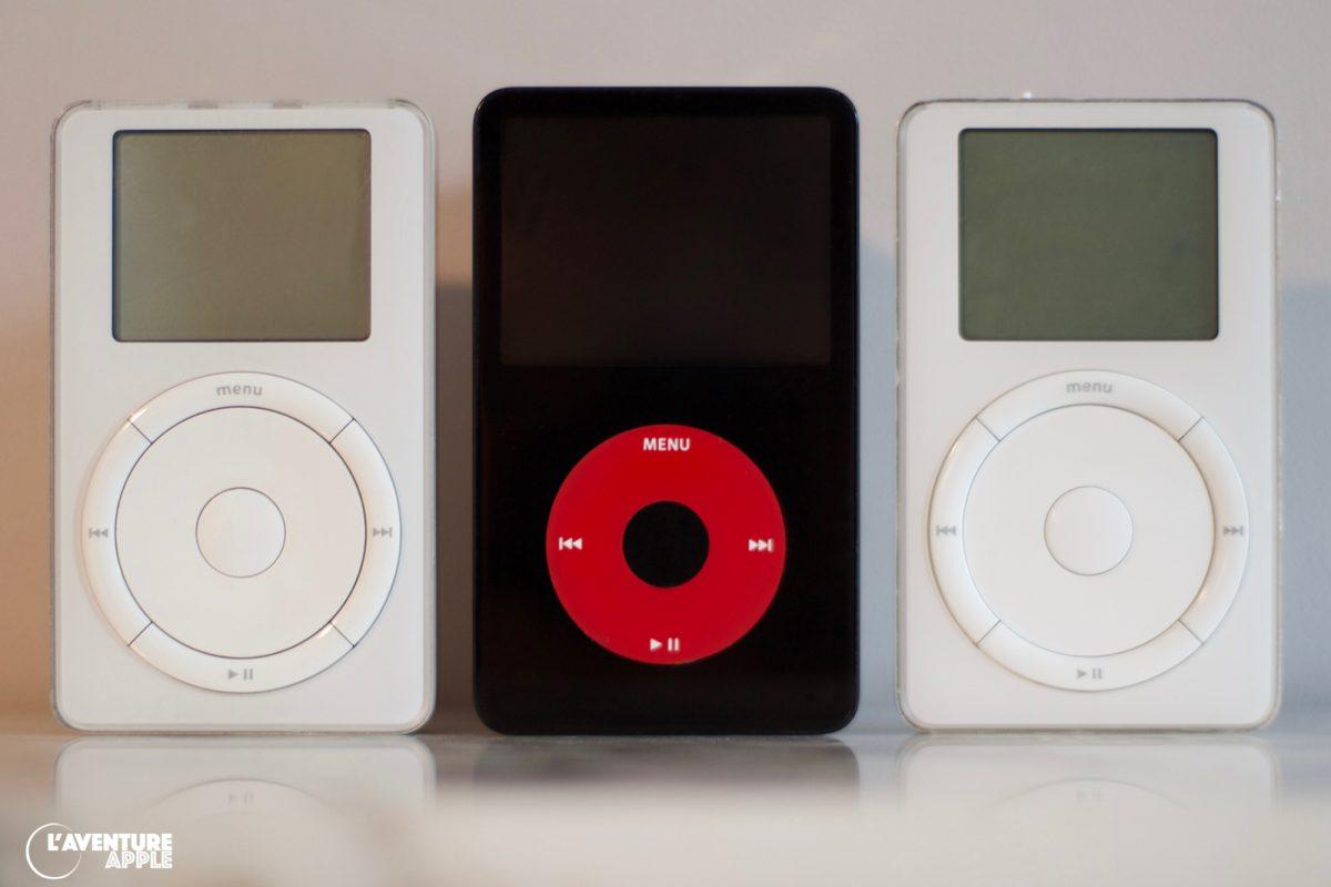 """l'iPod U2 """"5G"""" entouré des iPod """"1G"""""""