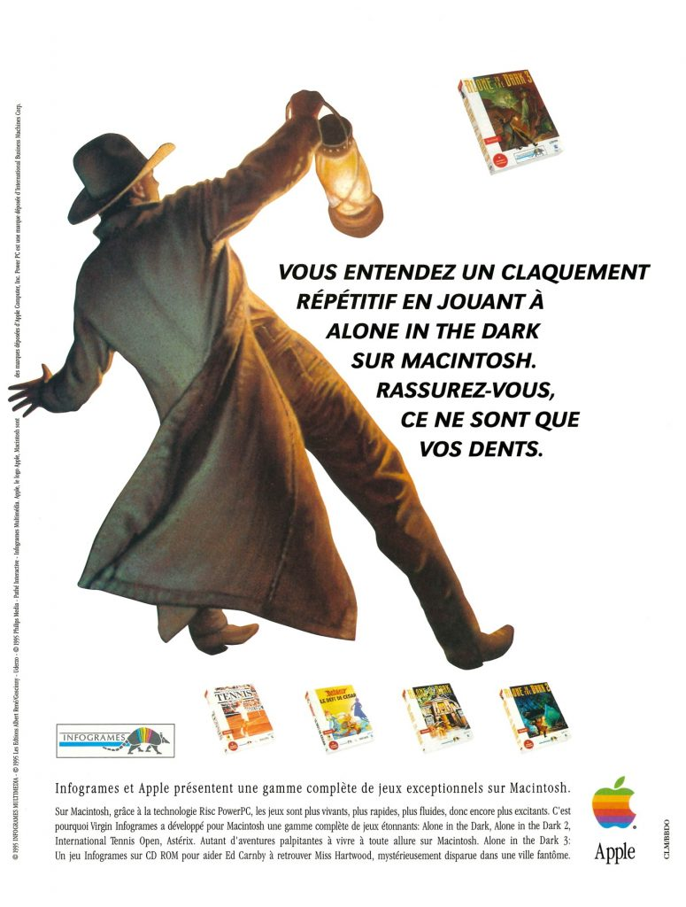Publicité Apple Macintosh PowerPC Infogrames Alone in the Dark