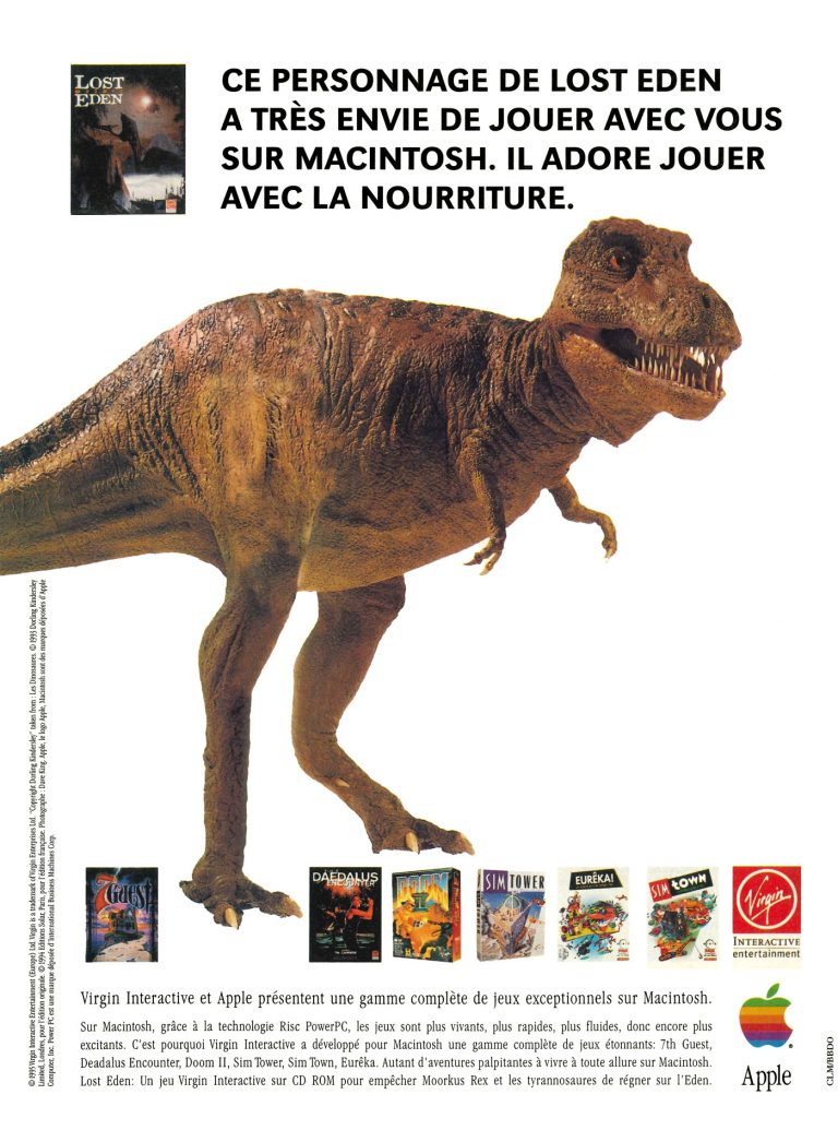 Publicité Apple Macintosh PowerPC, Lost Eden Virgin Interactive