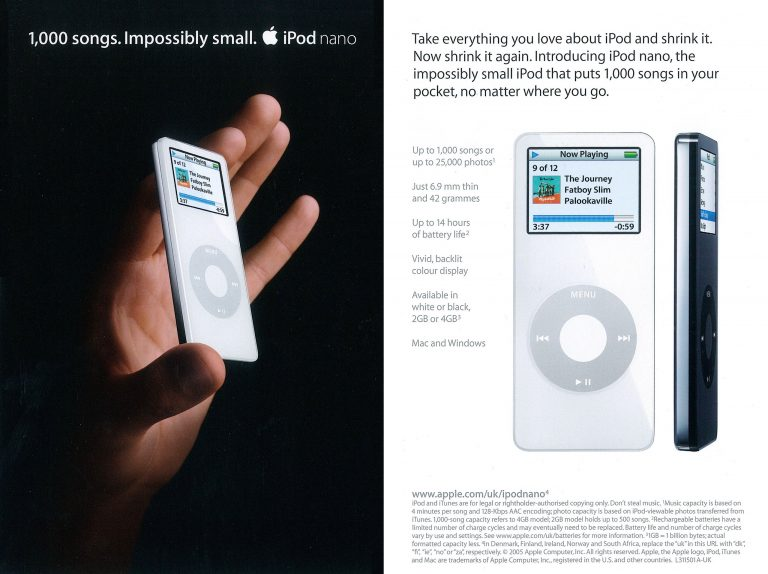 Apple 2005 brochure iPod nano