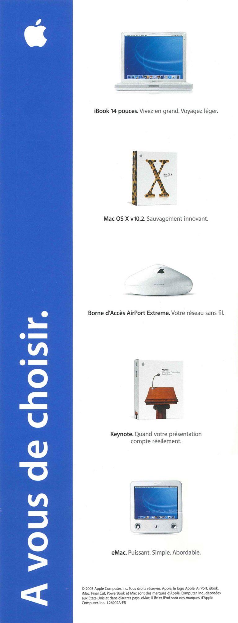 Brochure Apple 2003, la vie est belle en numérique
