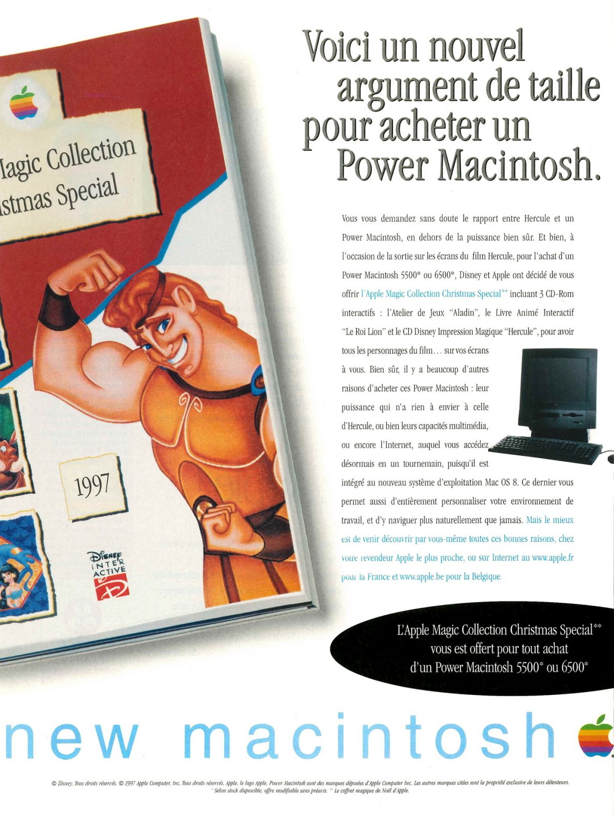 Publicité Apple PowerMacintosh Disney Hercule