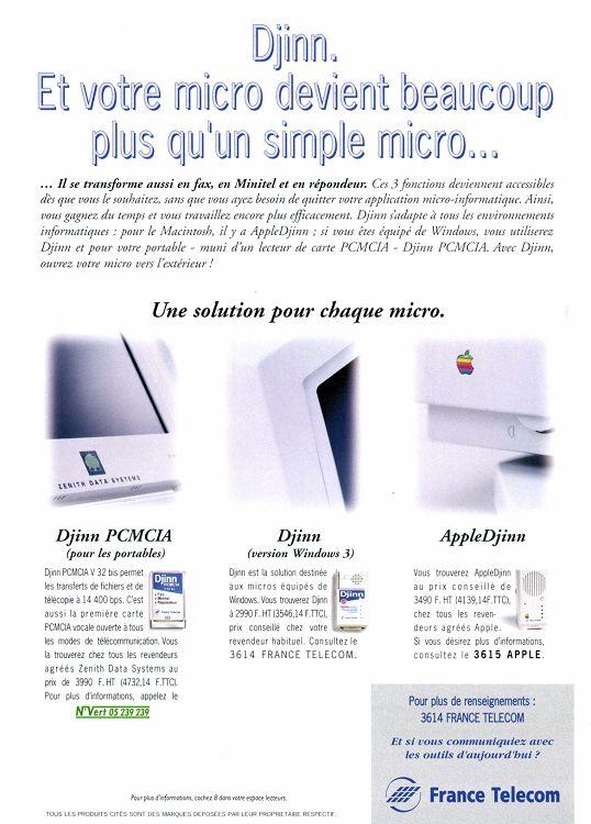 France Télécom Djinn publicité 1994
