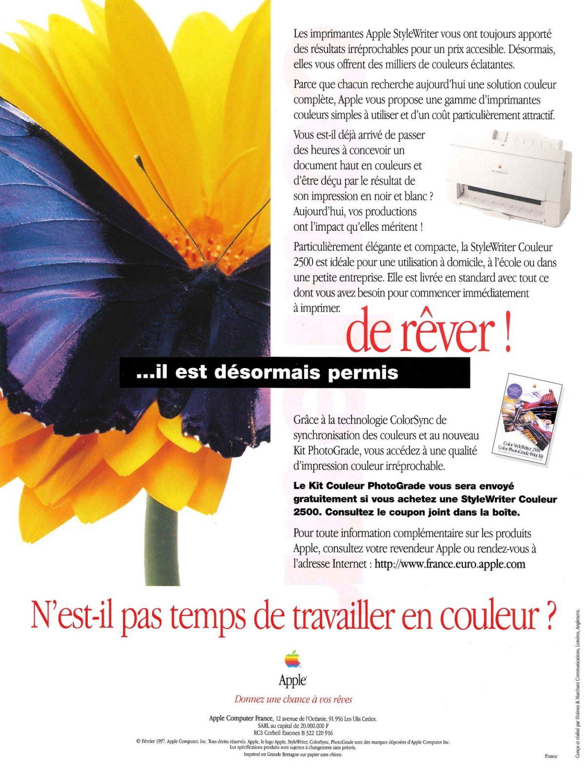 Publicité 1997 Apple StyleWriter Couleur 2500
