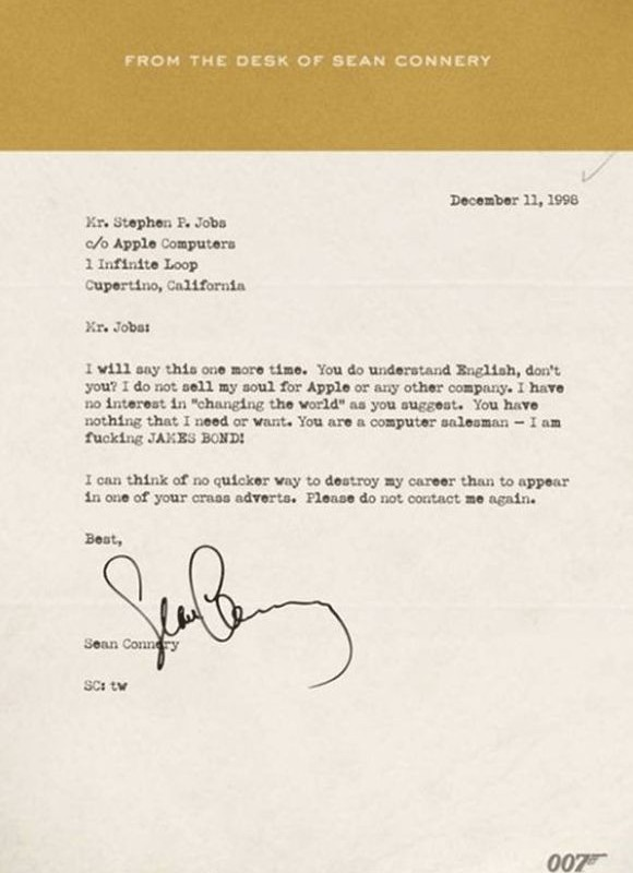 Lettre de Sean Connery à Steve Jobs