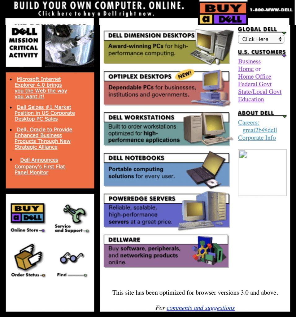Dell 1997 website