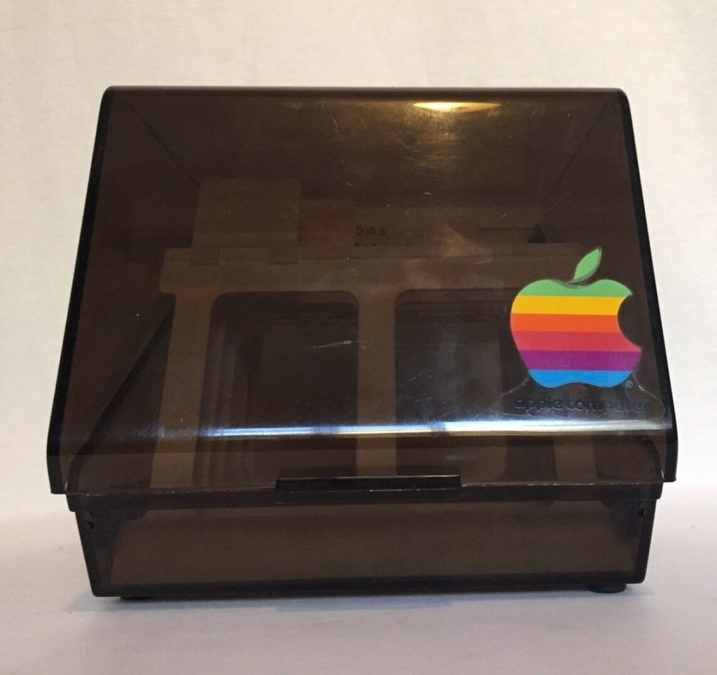 Apple floppy drive storage box with apple logo