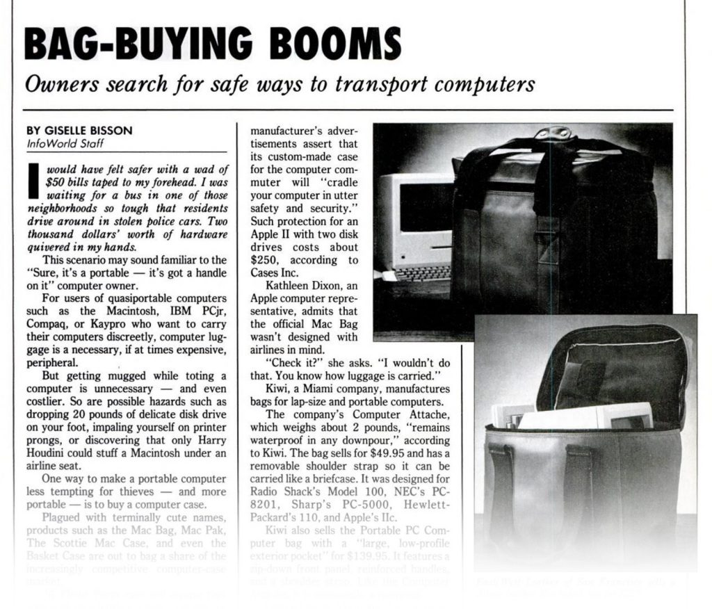 InfoWorld 1984 Macintosh Leather carrying Bag