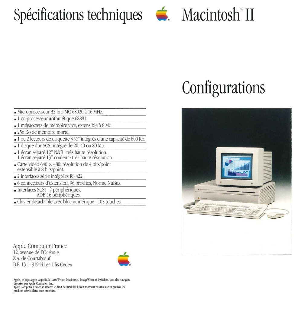 Macintosh II configurations Apple 1987