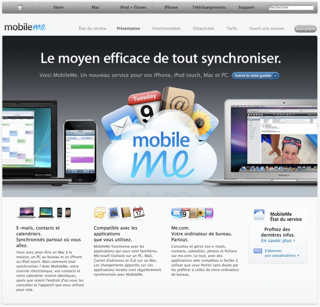 Apple mobile me website french