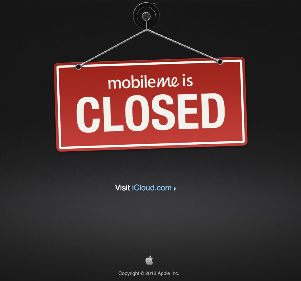 MobileMe is closed - Apple 2012