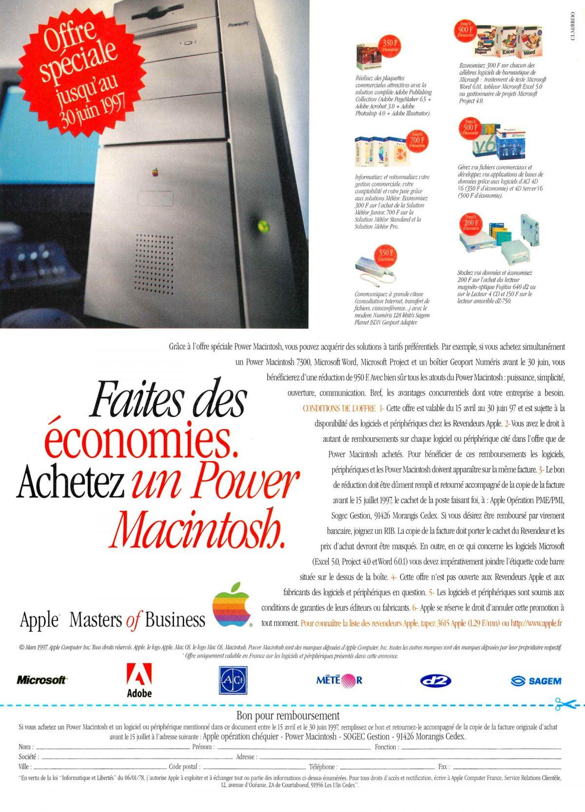 Publicité Mars 1997 Power Macintosh économies