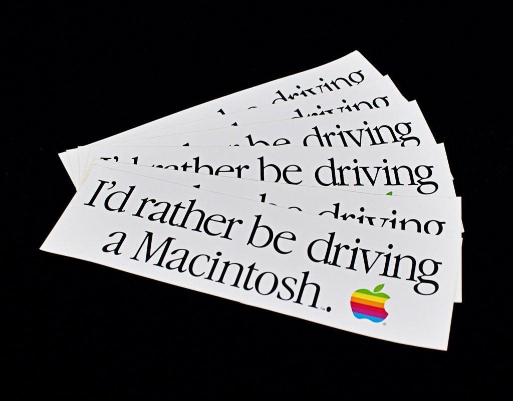 Apple Bumper Sticker I'd rather be driving a Macintosh