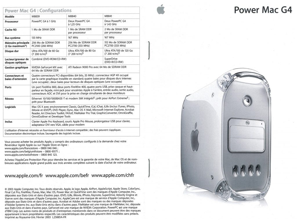 Brochure Apple 2003 France Power Mac G4