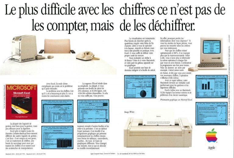 Publicité Apple 1985, Macintosh 512K et Excel