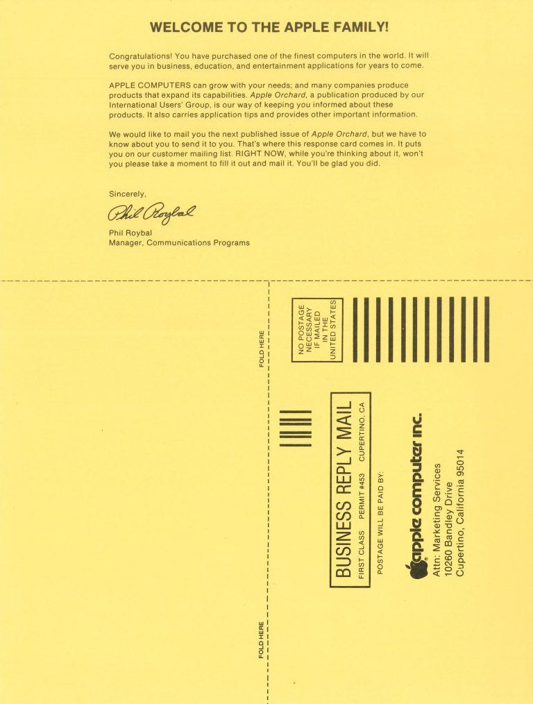 Apple 1980 Registration and Warranty Card