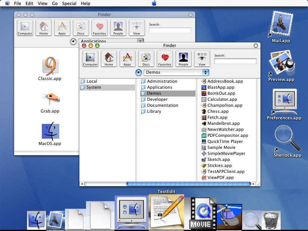 Mac OS X DP3 Finder