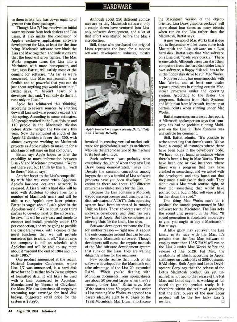 InfoWorld 1984 Lisa Apple