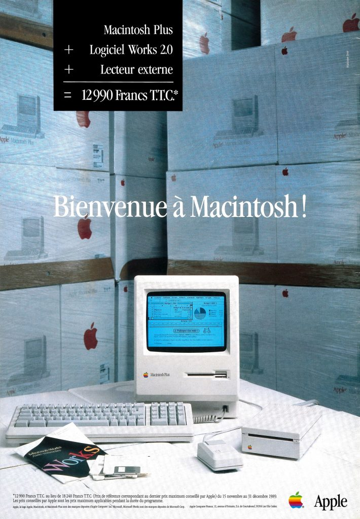 Publicité 1989 Apple Macintosh Plus + Microsoft Works