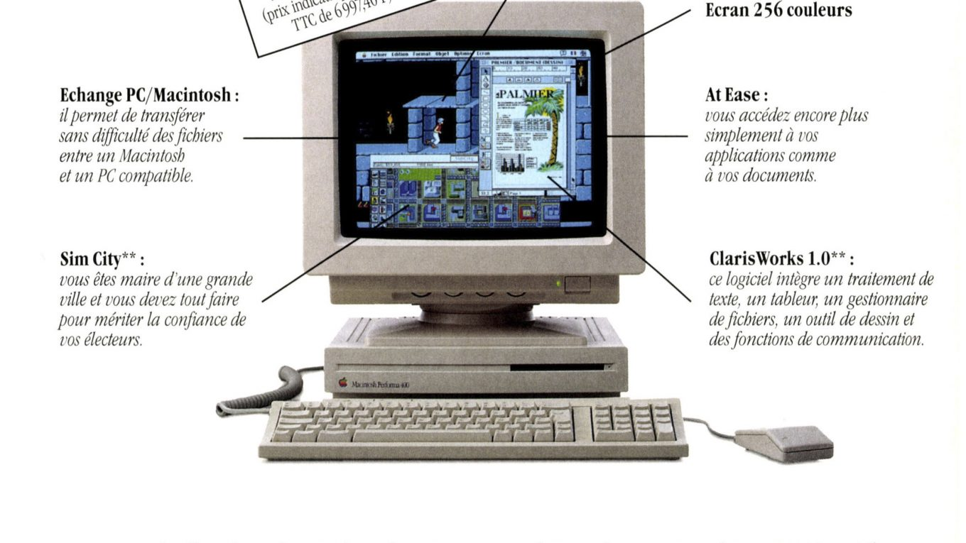 Publicité Apple Macintosh Performa 400 Sim City Prince of Persia