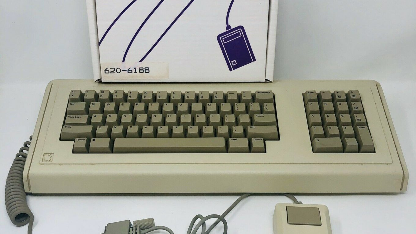 Macintosh XL mouse box, Lisa keyboard