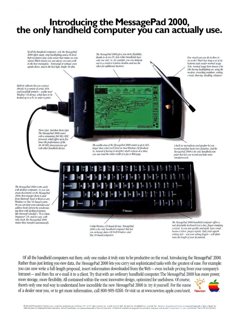 1997 MessagePad 2000 Apple Newton Ad