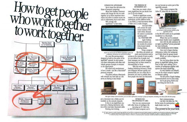 Publicité AppleTalk 1987