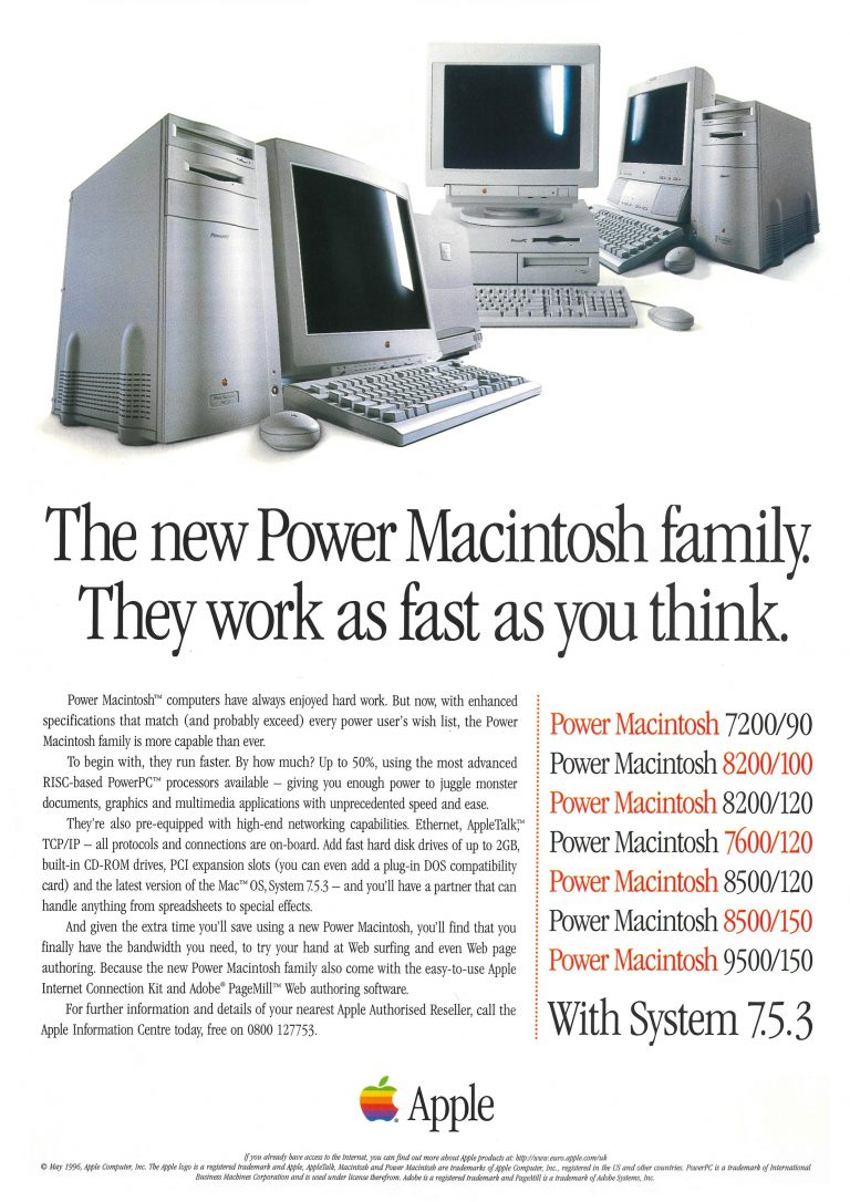 Apple 1996 Ad : Power Mac 7200 8200 7600 8500 9500