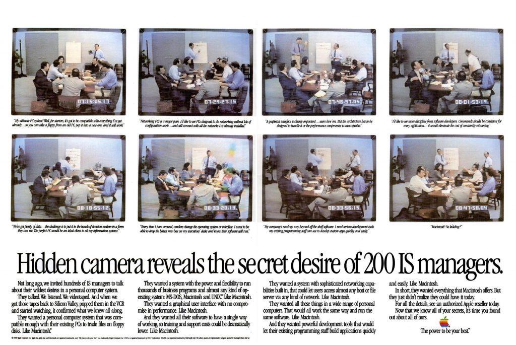 Publicité Apple 1990 IS manager