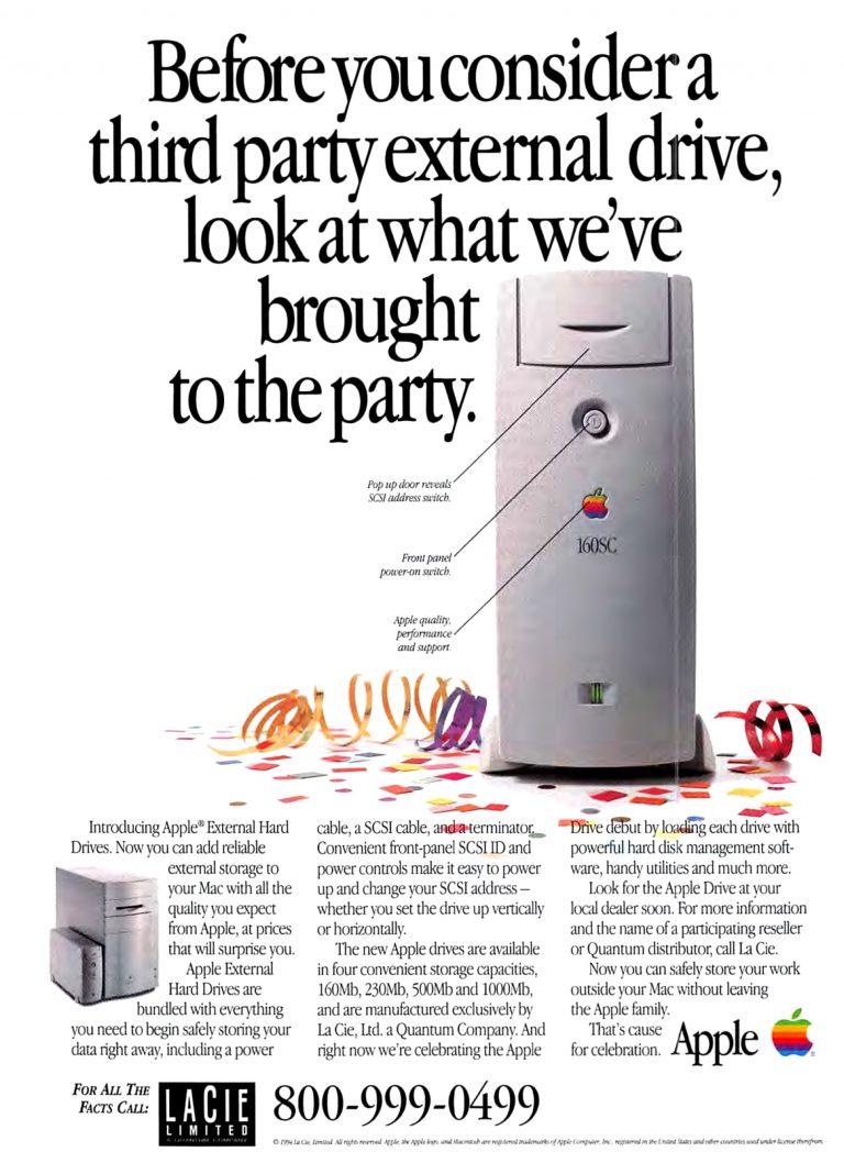 Apple 1994 LaCie 160SC Hard Drive Ad