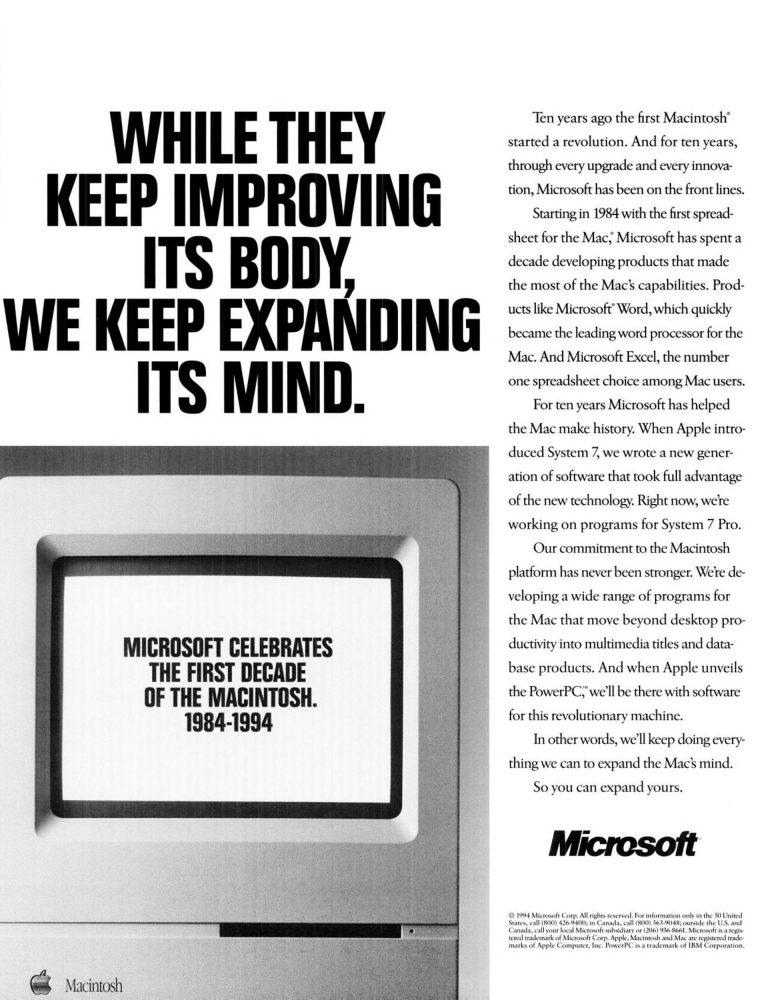 Microsoft 10th anniversary Macintosh 1994 ad