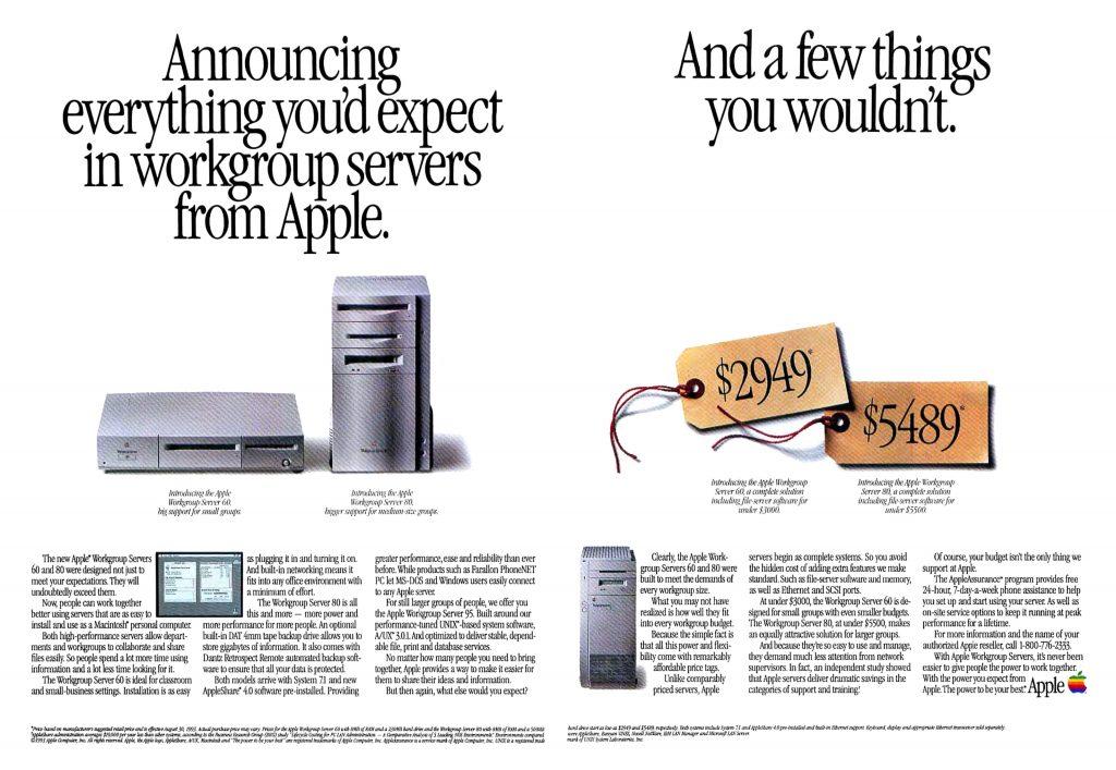 Apple Workgroup Server 60 et 80 1993 ad