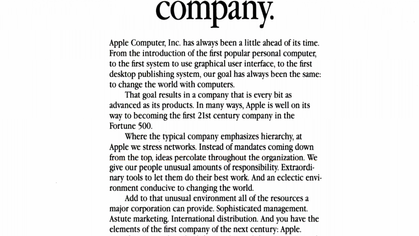 Apple help create the first 21st century company